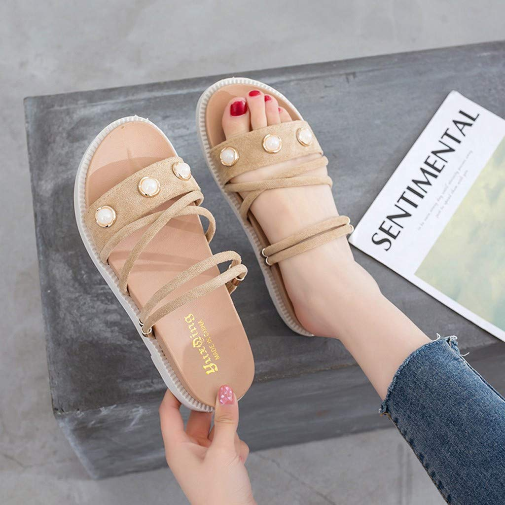 ZOMUSAR New! 2019 Women's Summer Casual Fashion Flat Bottom Roman Round Head Non-Slip Slippers Beige by ZOMUSAR (Image #4)