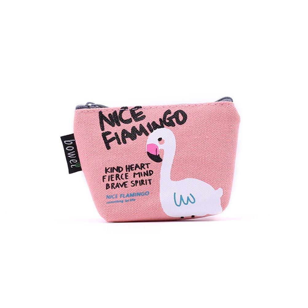 TOYMYTOY 4 pcs Mignon Bande dessin/ée Flamingo Toile Porte-Monnaie Zipper Wallet pi/èces Sacs