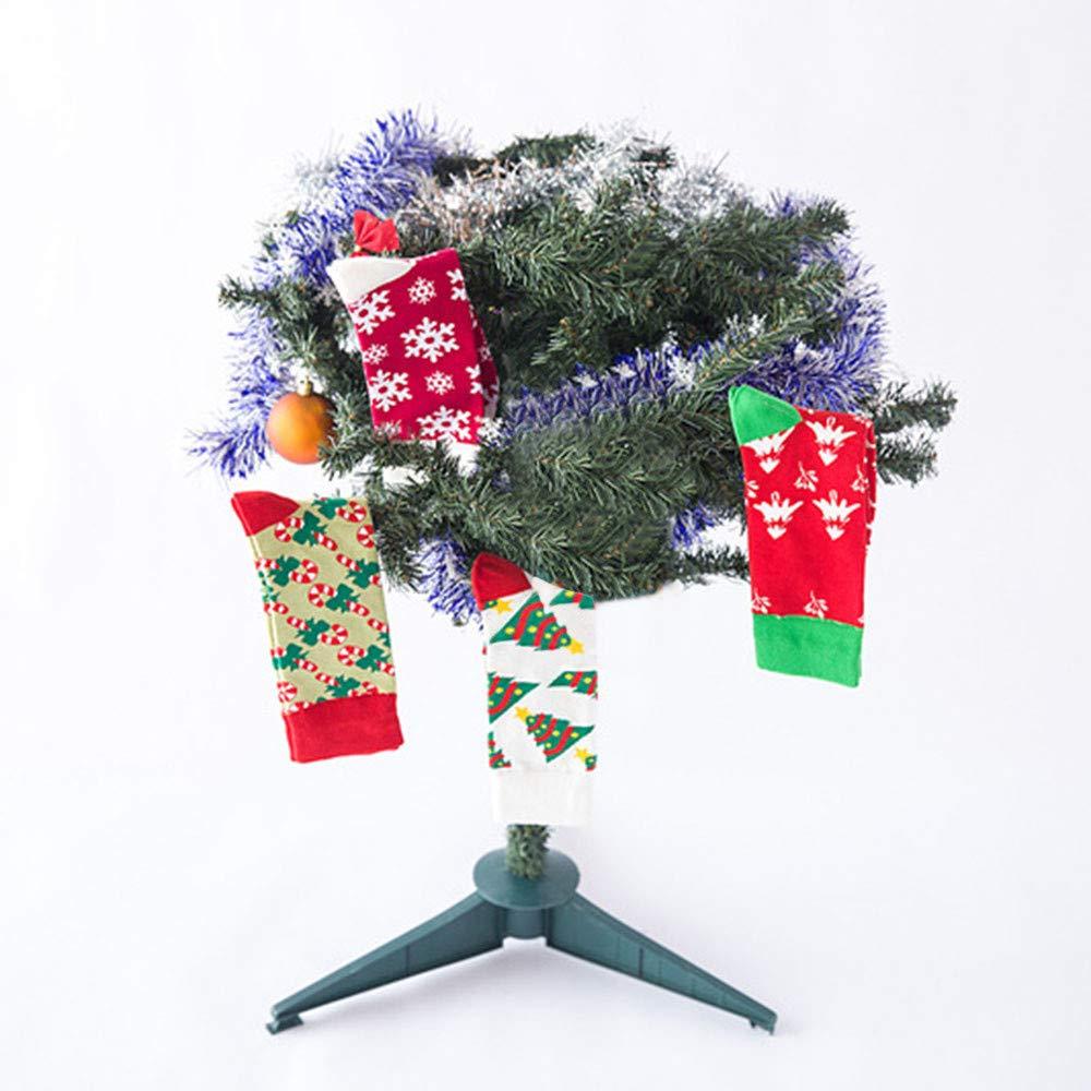 Christmas Long Socks,Women Cotton Xmas Tree Multi-Color Printed Leg Warmer Winter Warm Socks (Free Size, D) by Leewos (Image #7)