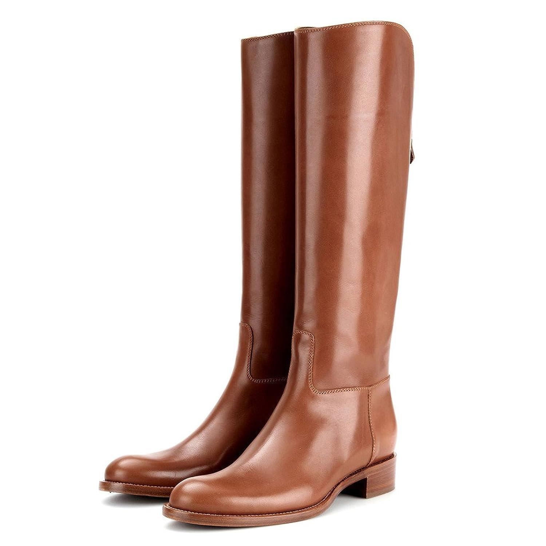 043454ecdf7b5 Nancy Jayjii Women Western Knee High Wide Calf Leather Boots Low Wooden  Heel Riding Boots hot