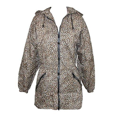 ShedRain Womens Packable Fashion Leopard Print Anorak Rain Jacket, M/L-8/10, Cheetah