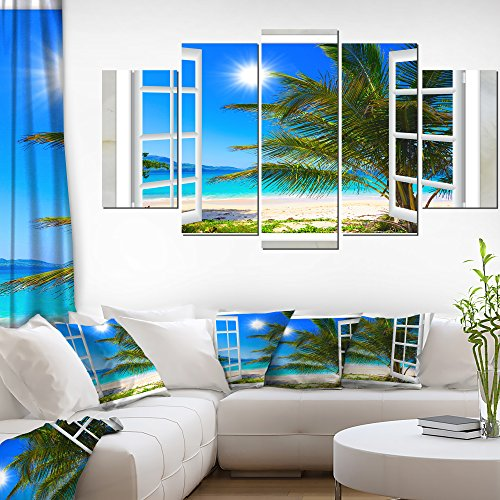 Window Open to Beach with Palm Extra Large Seashore Canvas Art by Design Art