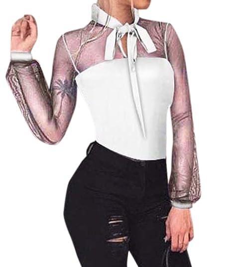 Mujer Primavera y Otoño Bodysuit Blusas Moda Slim Manga Larga Leotard Top Perspectiva Tul Costura Mamelucos