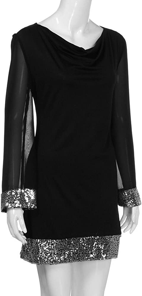 Women Stitching Mini Dress NDGDA Casual V-Neck Sequined Long Sleeve Bodycon Dress