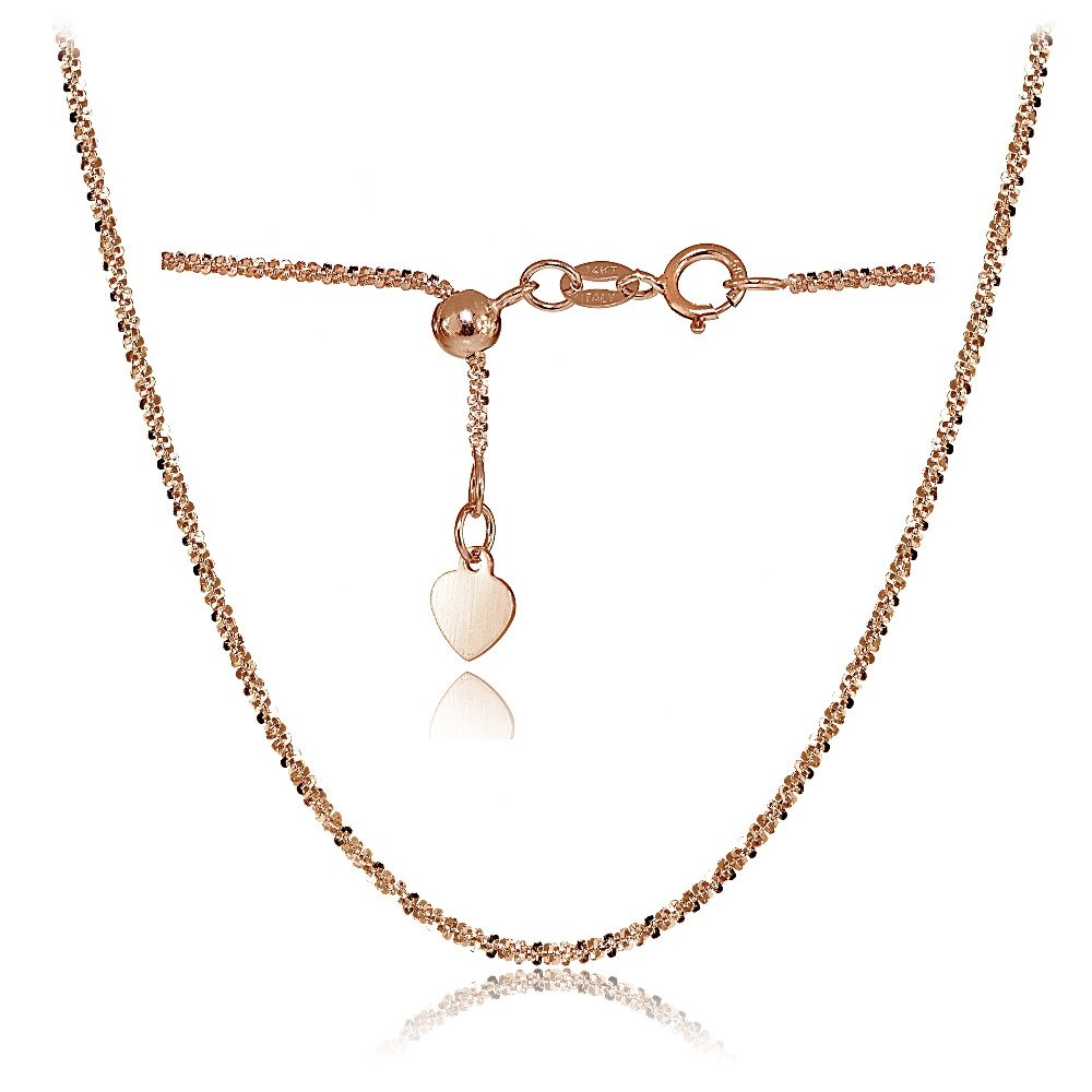 Bria Lou 14k Rose Gold 1.3mm Italian Rock Rope Adjustable Chain Necklace, 14-20 Inches