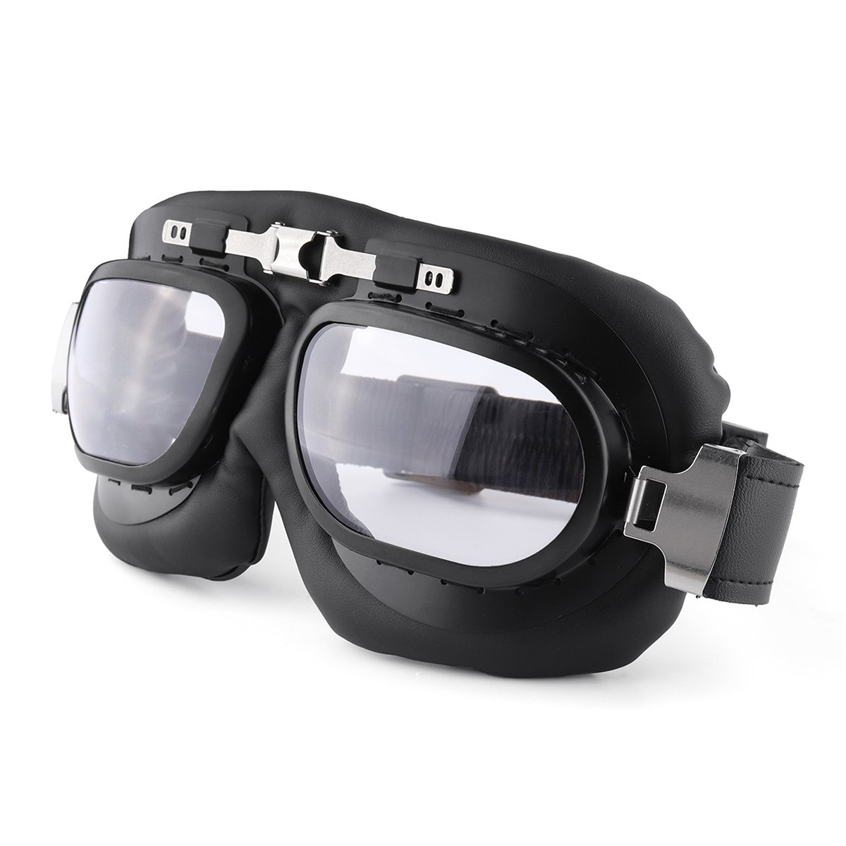 Viviance Gafas Gafas De Moto Vintage Classic Goggles Retro Piloto Cruiser Steampunk UV Protecti Azul