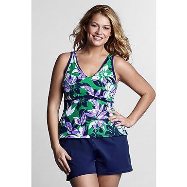 04ec637f5ce Lands  End Women s Plus Size DD-cup AquaTerra V-neck Floral Tankini Swimsuit