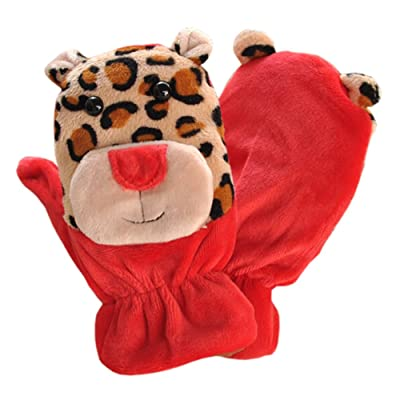 1 Pair Kids' Winter Glove Villus Mittens Haling Hands(0-3 Years)Giraffe Red