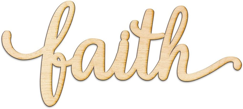 """Faith Script Wood Sign Home Decor Wall Art Unfinished Charlie 8"""" x 4"""""""