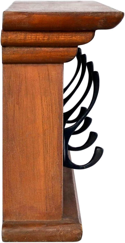Tidyard Appendiabiti da Parete Vintage in Legno di Teak con 4 Ganci,Appendiabiti Ingresso da Muro Legno,Mensole da Parete,Attaccapanni Muro,Appendichiavi da Muro,Appendiabiti a Muro 70x10x20 cm