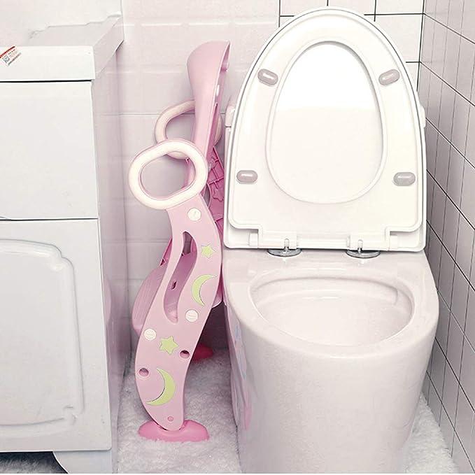 QAZW Ayuda para Aprender a IR al ba/ño con Escalera Antideslizante Adaptador WC para Ni/ños escal/ón Plegable Orinal Formaci/ón