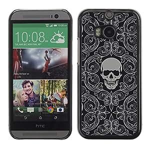 Caucho caso de Shell duro de la cubierta de accesorios de protección BY RAYDREAMMM - HTC One M8 - Skull Wallpaper Grey Skeleton Head Pattern