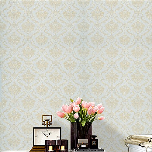 Gold Wallpaper Textured (Wopeite Damask European Vintage Luxury Wallpaper Gold Embossed Textured Paper Non-Woven Home Decor for Living Room Bedroom TV Backdrop light Blue)
