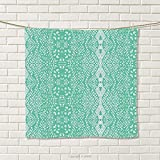 smallbeefly Mint Hand Towel Classic Lace Pattern with Details Shabby Chic Feminine Vivid Vintage Artsy Image Quick-Dry Towels Teal Turquoise Size: W 20'' x L 31''