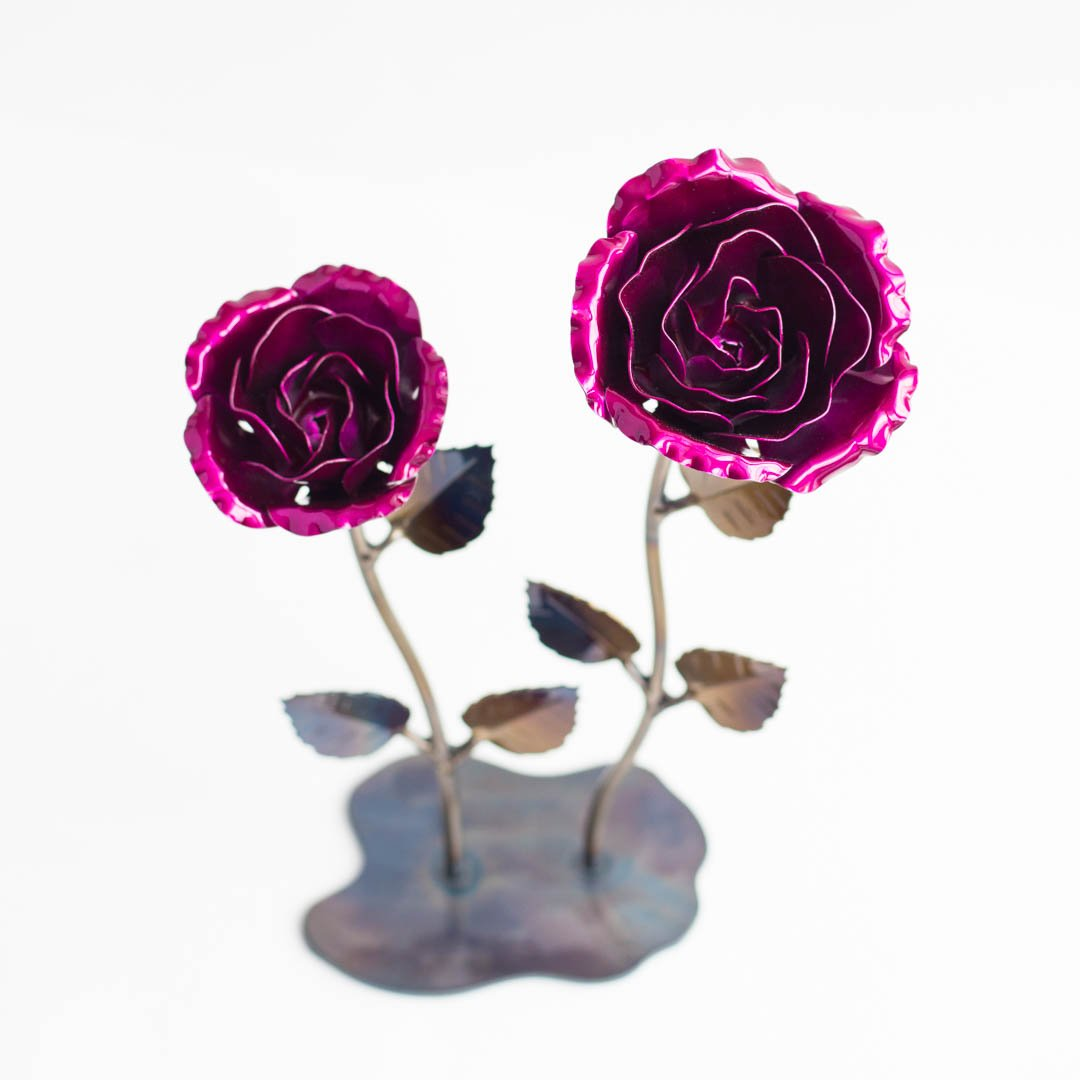 Personalized Hand Forged Wrought Iron Magenta Metal Roses (Set of 2)