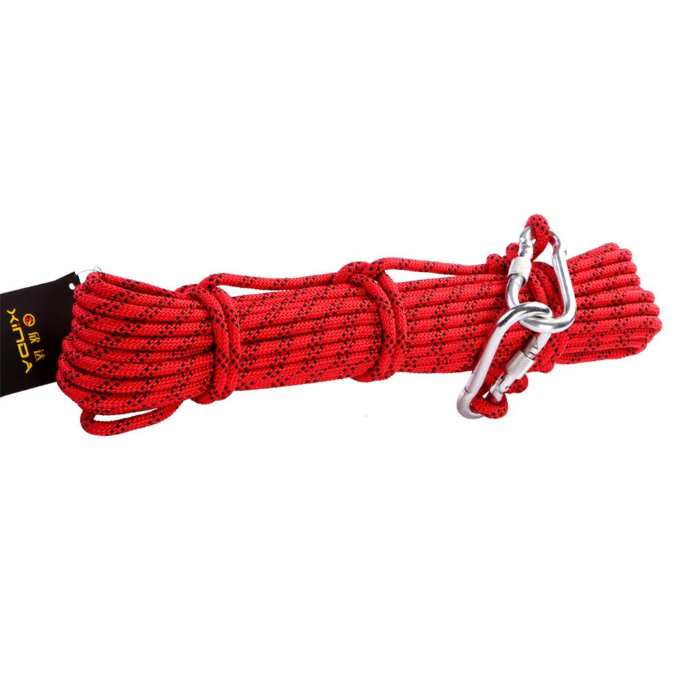 クライミングアクセサリーロープ、8ミリメートルハイキングロープアウトドアキャンプサバイバルファイアエスケープ救助安全ロープカラビナ付き10メートル15メートル20メートル30メートル50メートル100メートル,Red,100m 100m Red B07QS65M62