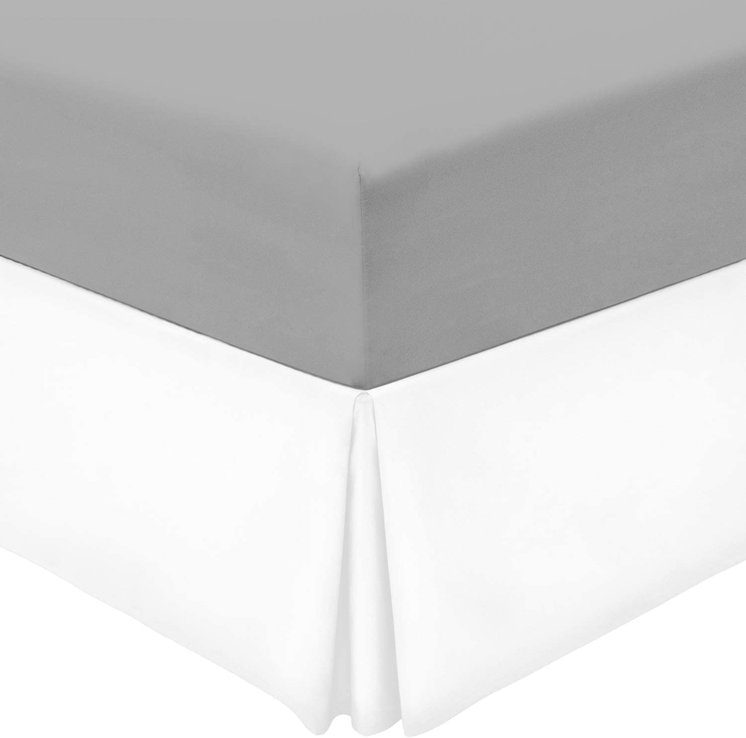Mellanni Bed Skirt King Size - 15-Inch Tailored Drop Pleated Dust Ruffle - 1800 Double Brushed Microfiber Bedding - Easy Fit, Wrinkle, Fade, Stain Resistant (King, White)