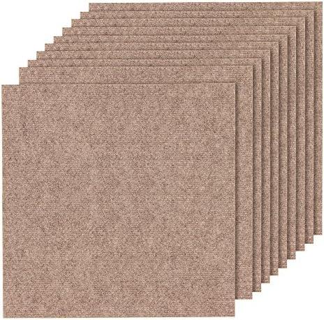 山五 滑り止め 吸着加工 洗えるカーペット 薄手 大判タイプ ブラウン色 10枚入り 50×50cm