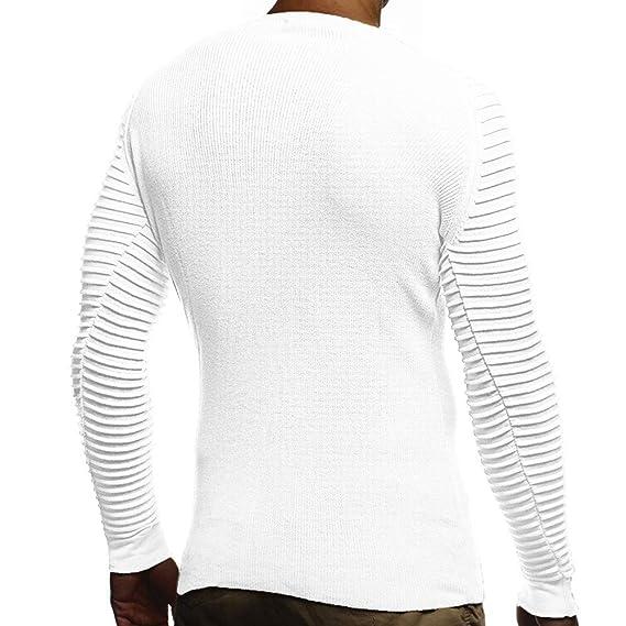 JiaMeng Camisa de Manga Corta Cuello Redondo Hombres Camiseta con Cuello drapeado de Rayas de Invierno Top Blusa: Amazon.es: Ropa y accesorios