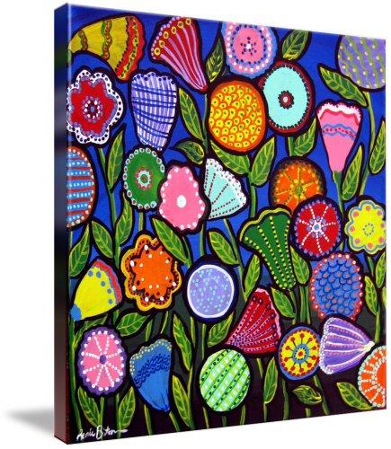 Fun Funky Flowers Blue (Giclee Art Print), Renie Britenbucher
