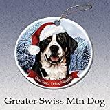 Holiday Pet Gifts Greater Swiss Mountain Dog Santa Hat Dog Porcelain Christmas Tree Ornament
