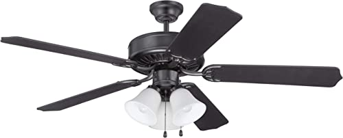 Craftmade K11113 Pro Builder 205 Series 52 Ceiling Fan with Lights and Pull Chain, 5 ABS Blades, Flat Black