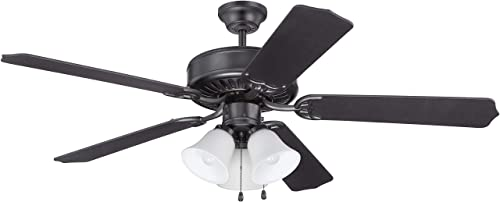 Craftmade K11113 Protruding Mount, 5 Flat Black Blades Ceiling fan with 39 watts light, Flat Black