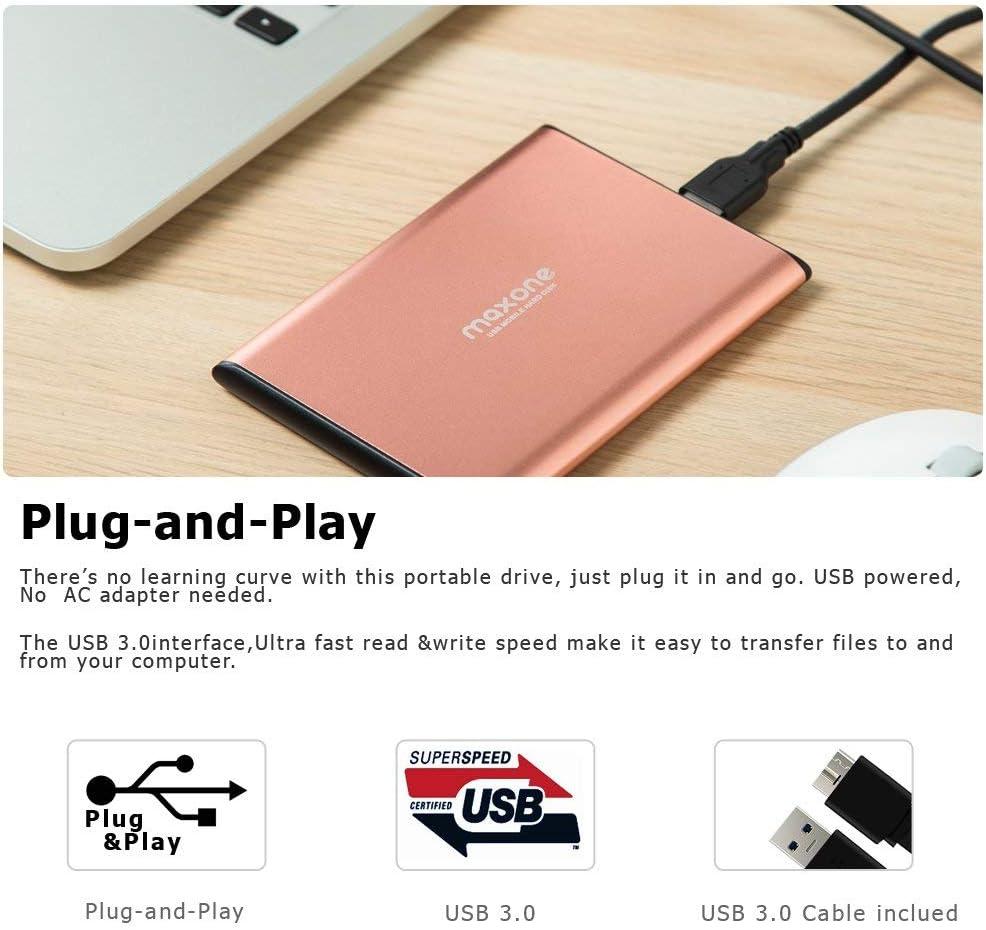 2TB, Rose Pink 2.5 Ultra Slim Portable External Hard Drive USB 3.0 for Laptop//Desktop//Xbox one//PS4