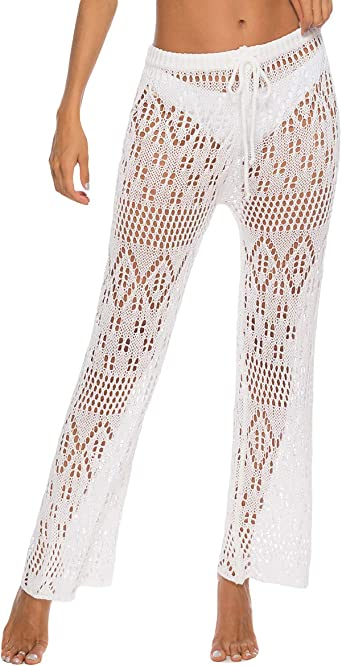 Youngsoul Pantalones De Playa Para Mujer Pantalones De Malla Playeros Transparentes Bikini Cover Up Blanco Talla Unica Amazon Es Ropa Y Accesorios