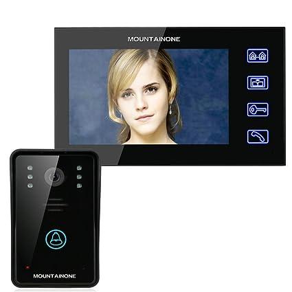 Bon MOUNTAINONE 7u0026quot; Video Door Phone Intercom Doorbell Touch Button Remote  Unlock Night Vision Security CCTV