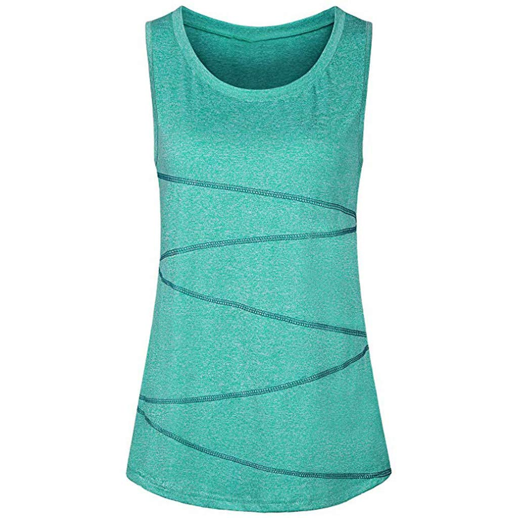 Mnyycxen Women Sleeveless Yoga Tops Vest Activewear Running Workout Shirt Tunic Tank Top Green