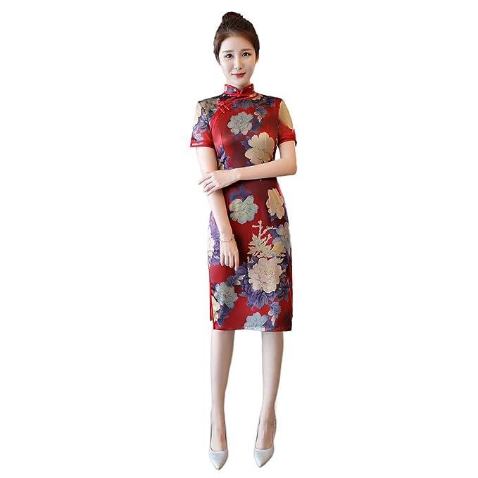 be5640e5bd Reveryml Mujer Vestido de Estilo Chino Vintage Qipao Cheongsam Oriental  Vestido Chino Tradicional Ropa para Mujer  Amazon.es  Ropa y accesorios