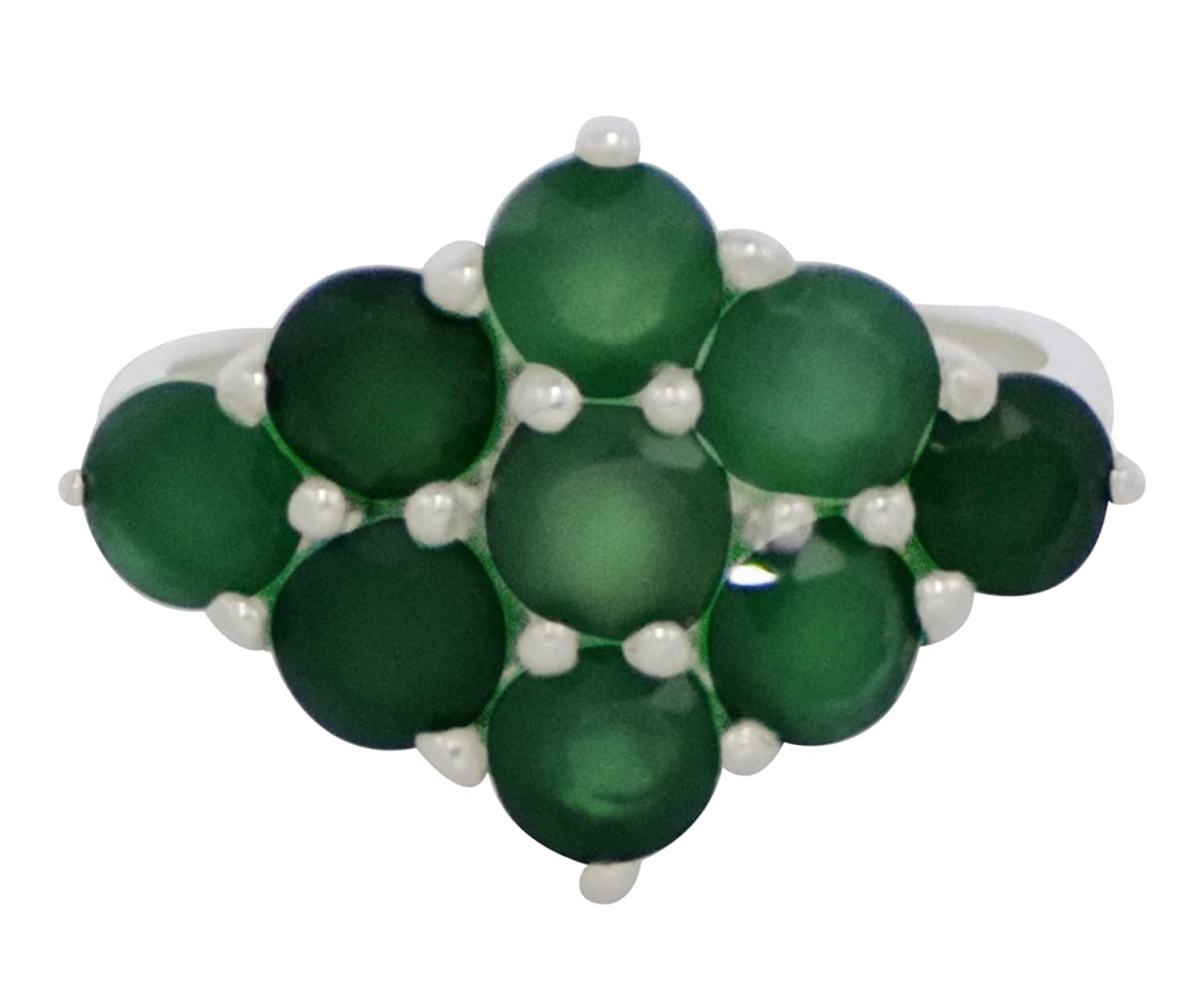 Banithani 925 Sterling Silver Green Onyx Gemstone Designer Ring Band Fashion Jewelry Gift
