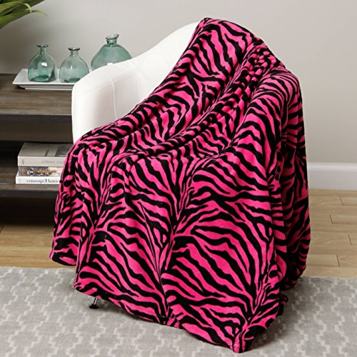 UN3 1 Piece Girls Black Pink Zebra Stripes Blanket King Size, Microplush Bedding Zebrastripes Themed Safari Wild Animal Print Pattern African Zoo, Snuggling Super Soft Plush Cozy, Polyester Black Microplush Throw
