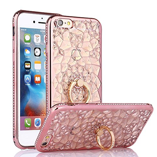 iPhone 6S Case, iPhone 6 Case, Cellaria Chrysalis Series - Ultra Slim Luxury Bling Rhinestone Case Cover With 360 Rotating Ring Grip/Stand Holder/Kickstand For iPhone 6S/6 (4.7 Inch), Rose Gold