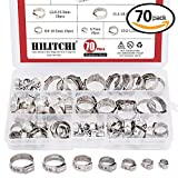 #8: Hilitchi 70pcs Stainless Steel Single Ear Hose Clamps Kit