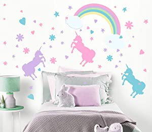 Create-A-Mural Unicorn Wall Decal Girls Room Wall Decor Art n' Rainbow & Clouds [102 Piece Set] Decoration for Kids Room Walls -Toddlers Unicorn Gifts for Girls Nursery Vinyl Wall Clings