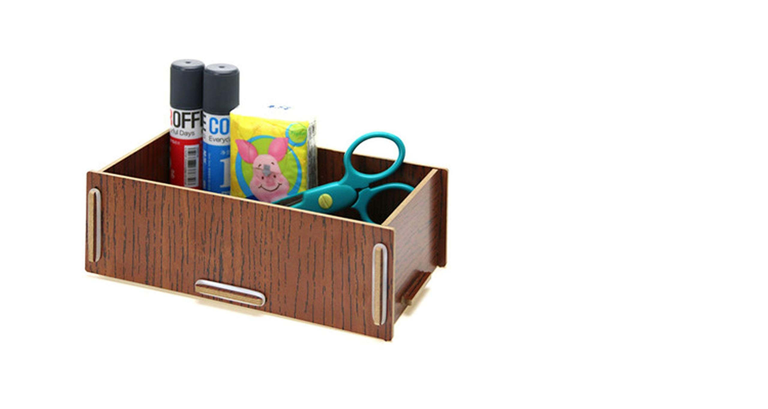 Wood Desktop Office Stationery Collection Room Sundry Receive Box for Remote control/scissors/pen,05