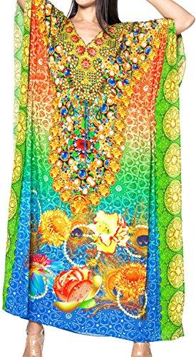 LA LEELA Trajes de baño del Traje de baño del Vestido caftán caftán Camisa de Dormir Aloha rayón Mano Maxi de Las Mujeres Multicolor_v541