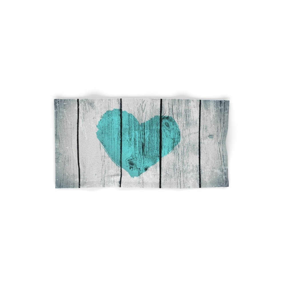Society6 Teal Rustic Heart On Country Wood Hand Towel 30''x15''