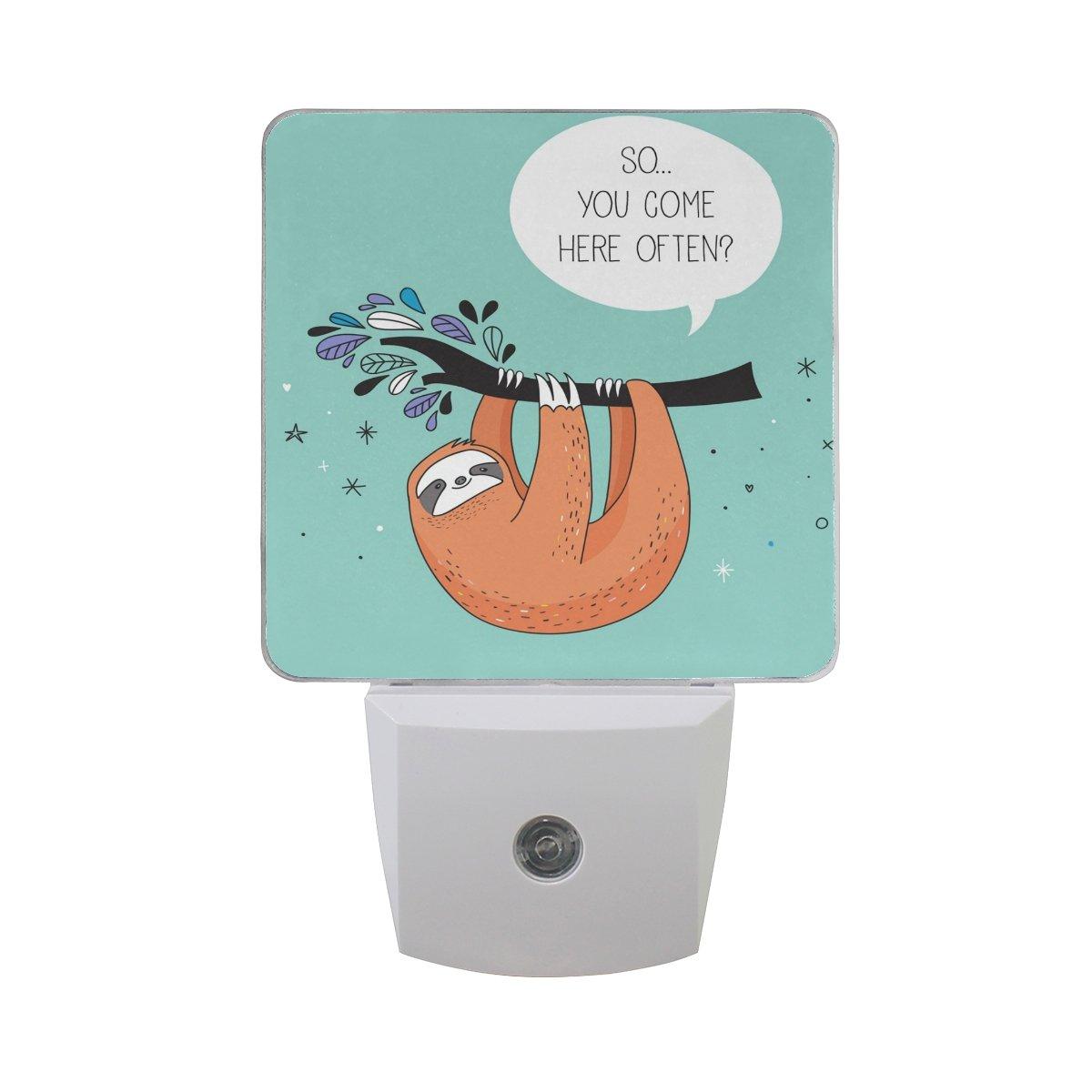 XinMing White Cartoon Sloth LED Sensor Night Light Super Bright Power Dusk To Dawn Sensor Bedroom Kitchen Bathroom Hallway Toilet Stairs Energy Efficient Compact(2 PACK)