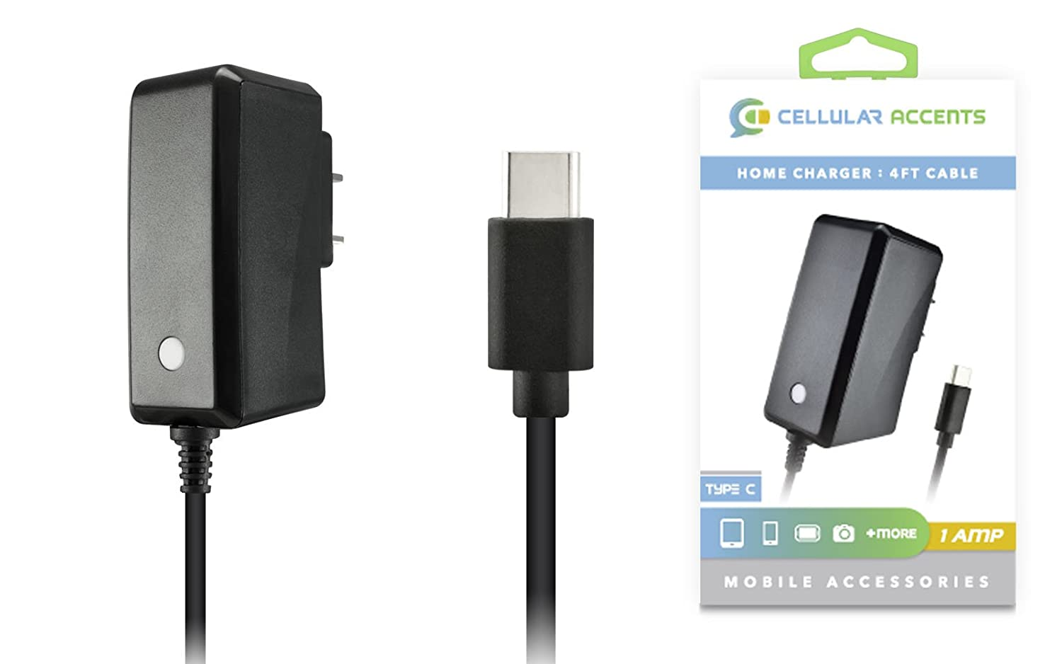 1 AMP 1000mAh USB 3.1 Type C Reversible Home Charger for Galaxy S8, S8+, Moto Z, Z Force, Z Play, Google Nexus 5X, 6P, Pixel, LG G5, G6, V20, ZTE Grand X Max 2, X 3, X 4, Zmax Pro, Z981 Plus more!