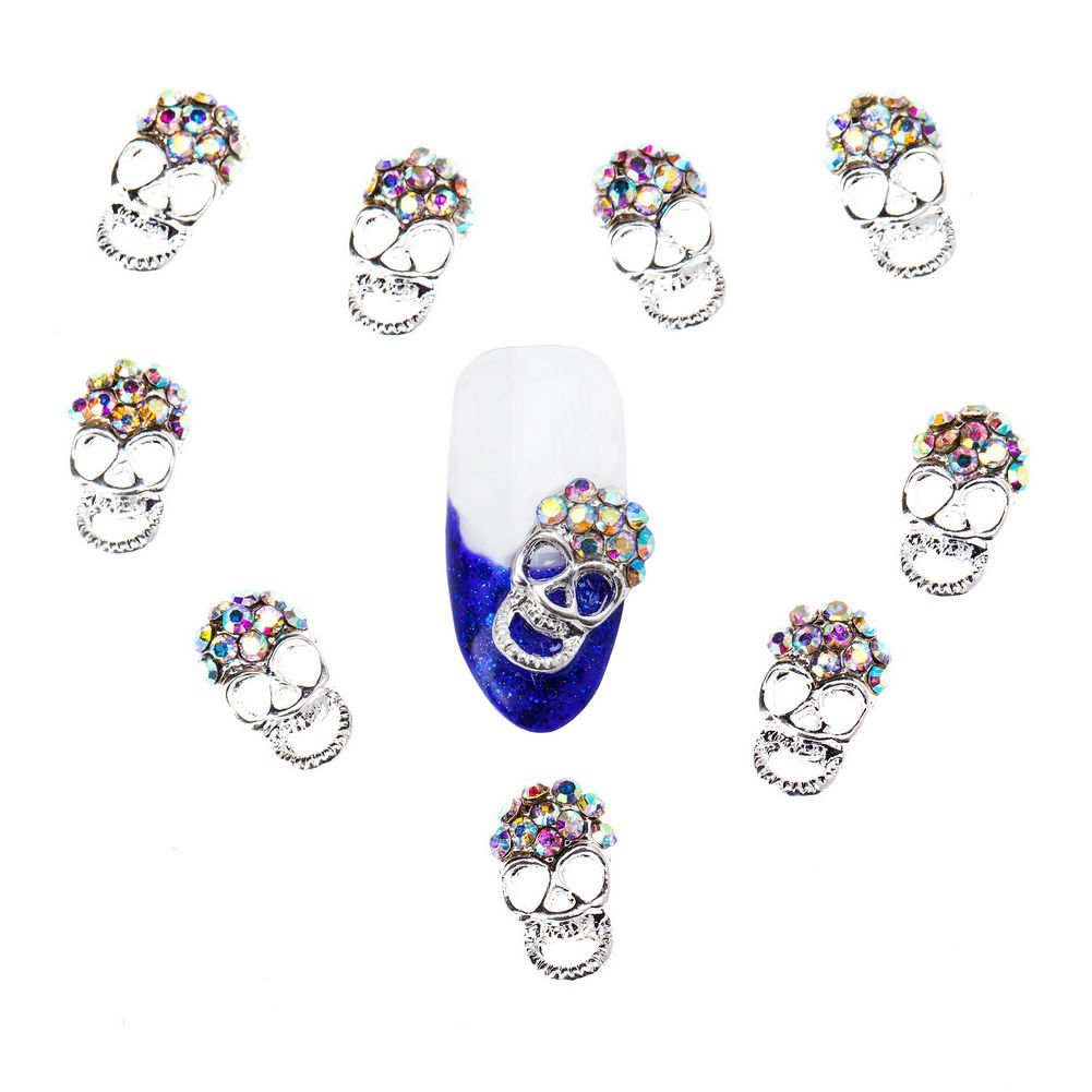 Amazing Set of 10 Silver Metal Skulls 3D Nail Art Decorations Decorated With AB Rhinestones / Crystals By VAGA