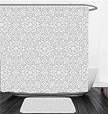 Nalahome Bath Suit: Showercurtain Bathrug Bathtowel Handtowel Taupe Decor Collection Antique Floral Motifs Arabian Islamic Art Patterns in Mod Graphic Design Oriental Boho Chic Deco Taupe