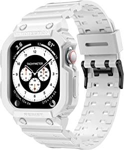amBand Compatible for Apple Watch Band 44mm 42mm with Bumper Case, Men Bands for iWatch Series 6 5 4 3 2 1 SE, Sport Military Protective Cases Protector Drop-Proof Shockproof