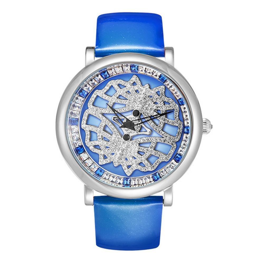 Diamant Damen Leder Armband Quarzuhr