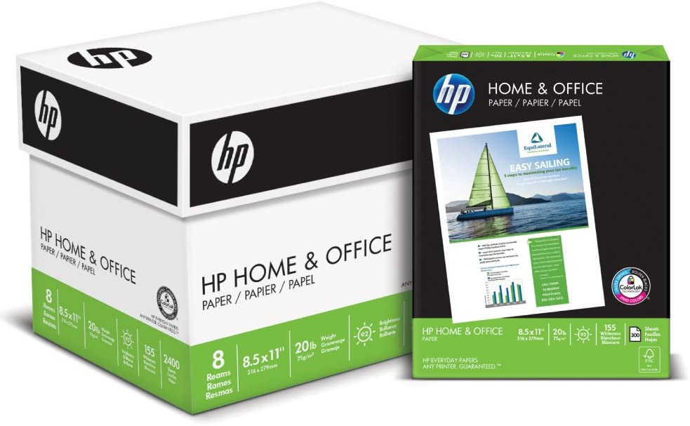 HP Printer Paper 8.5x11 Home & Office 20 lb 8 pack carton 2400 Sheets 92 Bright Made in USA FSC Certified Copy Paper HP Compatible 200300C