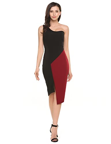 ACEVOG Womens Sexy Sheath Club Bodycon Party Midi One Shoulder Dress Prom Gown