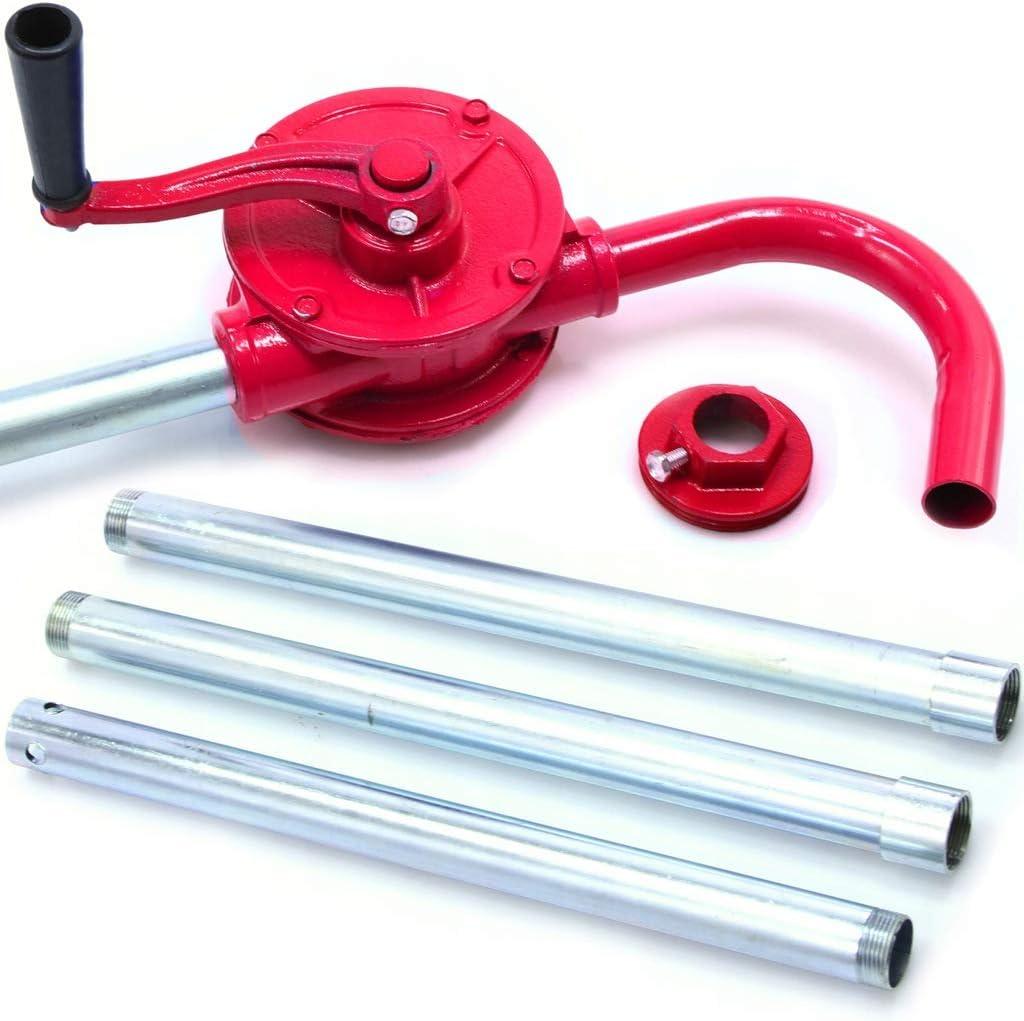 rg-vertrieb Kurbelfasspumpe Handpumpe Fasspumpe Gusseisen Kurbelpumpe /Ölpumpe Dieselpumpe rot