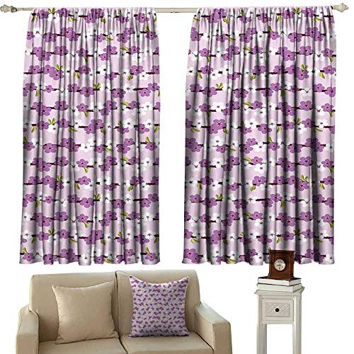 Decorative Curtains for Living Room Japanese Horizontal Branches with Cherry Blossoms Flourishing Sakura Tree Pattern Light Blocking Drapes with Liner W55 xL45 Lilac White Green